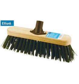 ELLIOTTS 29CM FSC WOODEN BROOM HEAD WITH STIFF GREEN FIBRES w/ SHAFT