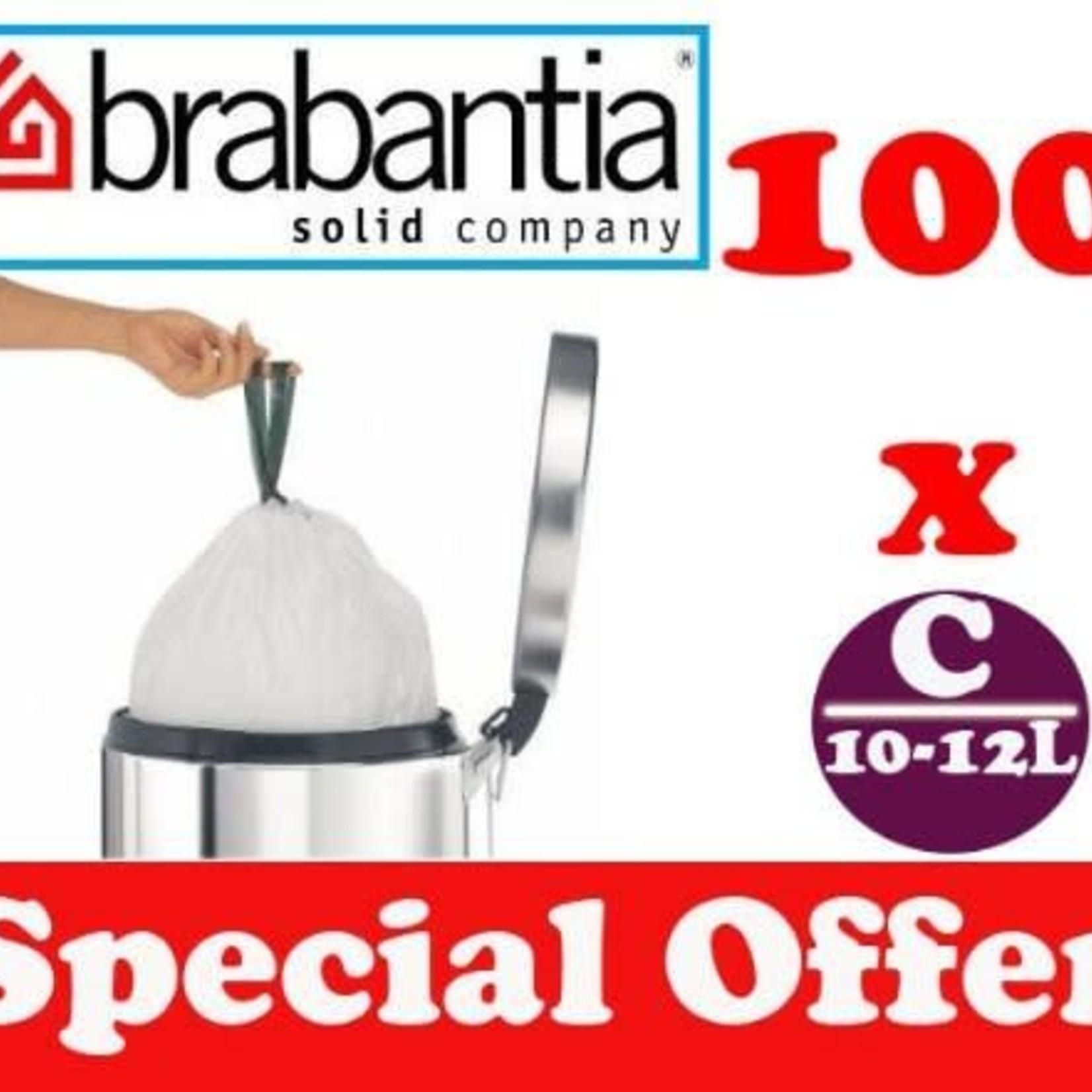 Brabantia 100 X 10-12L LITRE BRABANTIA SMARTFIX BIN LINERS WASTE BAGS SACKS TYPE C 2.2-2.6 UK GAL