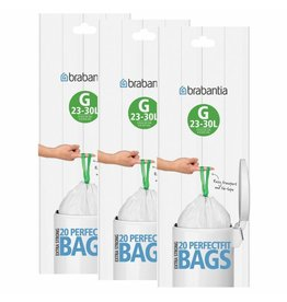 Brabantia BRABANTIA SIZE G 30 LITRE BIN LINERS (20 BAGS PER ROLL) 246265 PACK OF 3