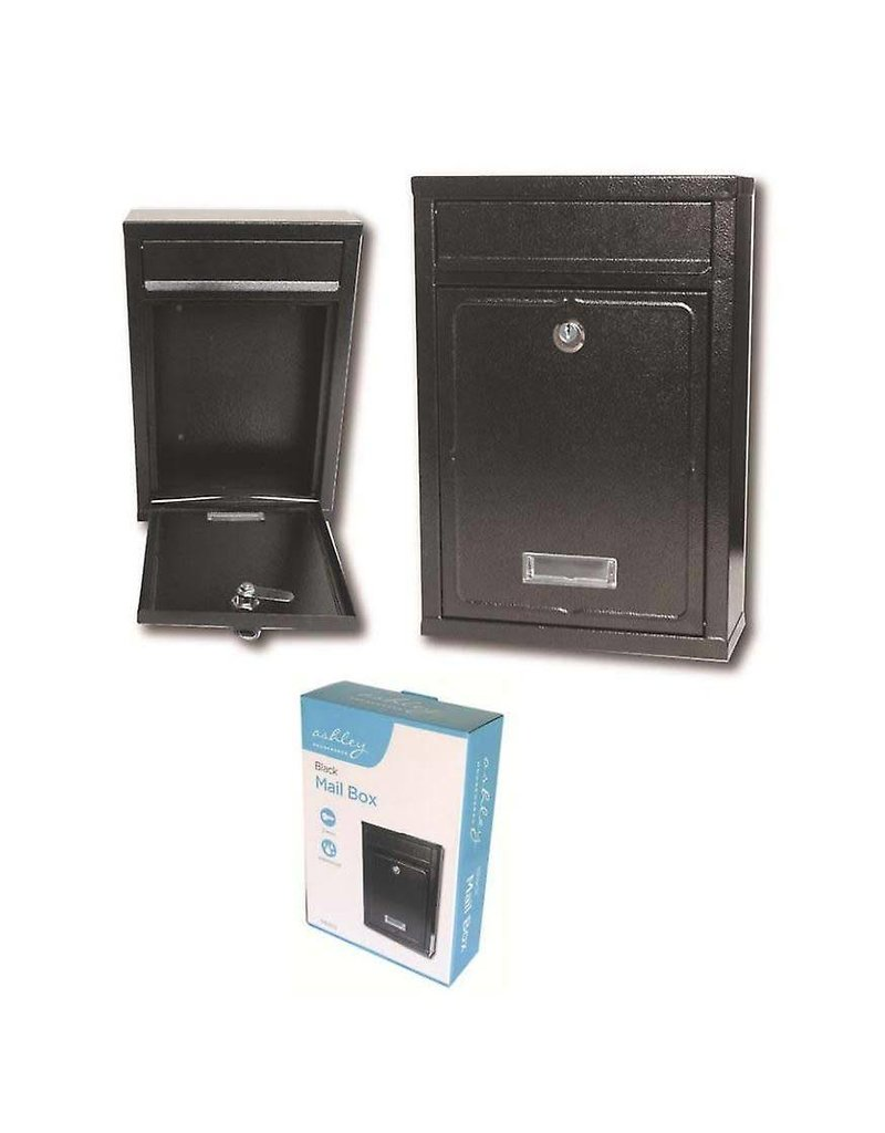 ASHLEY MAILBOX BLACK HEAVY DUTY STEEL PLATE, RECTANGULAR, 320MM X 215MM X 85MM., 2 KEYS