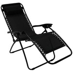 Heavy Duty Textoline Reclining Relaxer / Folding Chair - Black ( Sun Lounger)
