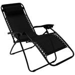 Heavy Duty Textoline Zero Gravity Reclining Relaxer Garden Sun Lounger Chairs Black
