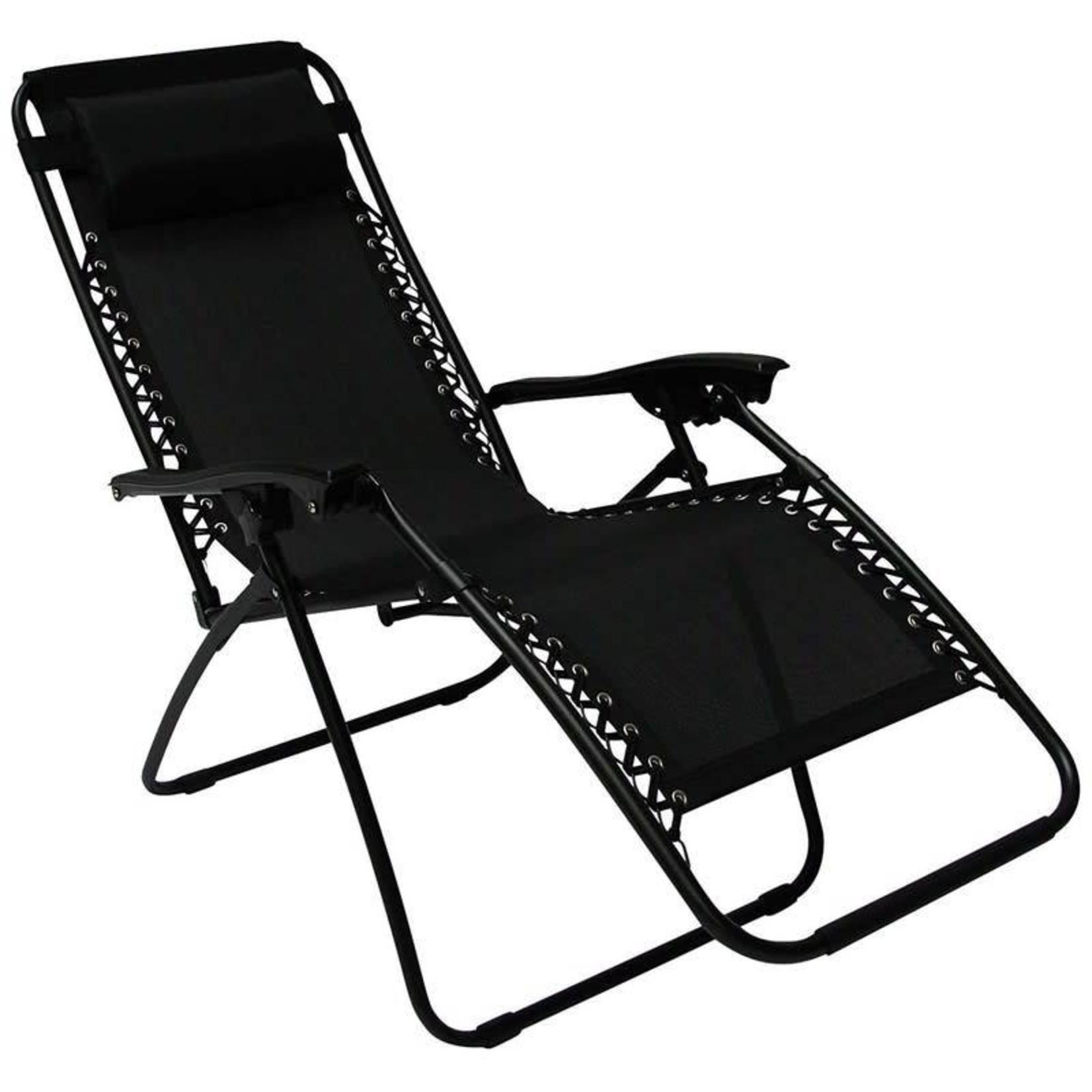 Redwood Heavy Duty Textoline Zero Gravity Reclining Relaxer Garden Sun Lounger Chairs Black