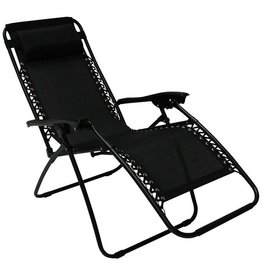 Heavy Duty Textoline Zero Gravity Reclining Relaxer Garden Sun Lounger Chairs Black