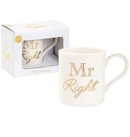 Lesser & Pavey White And Gold Mr Right Mug