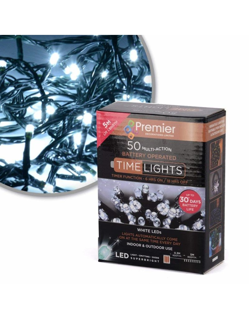 50 M-A B-O White LED Lights With Timer