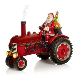 29cm Lit Tractor with Santa and Smoking Exhaust