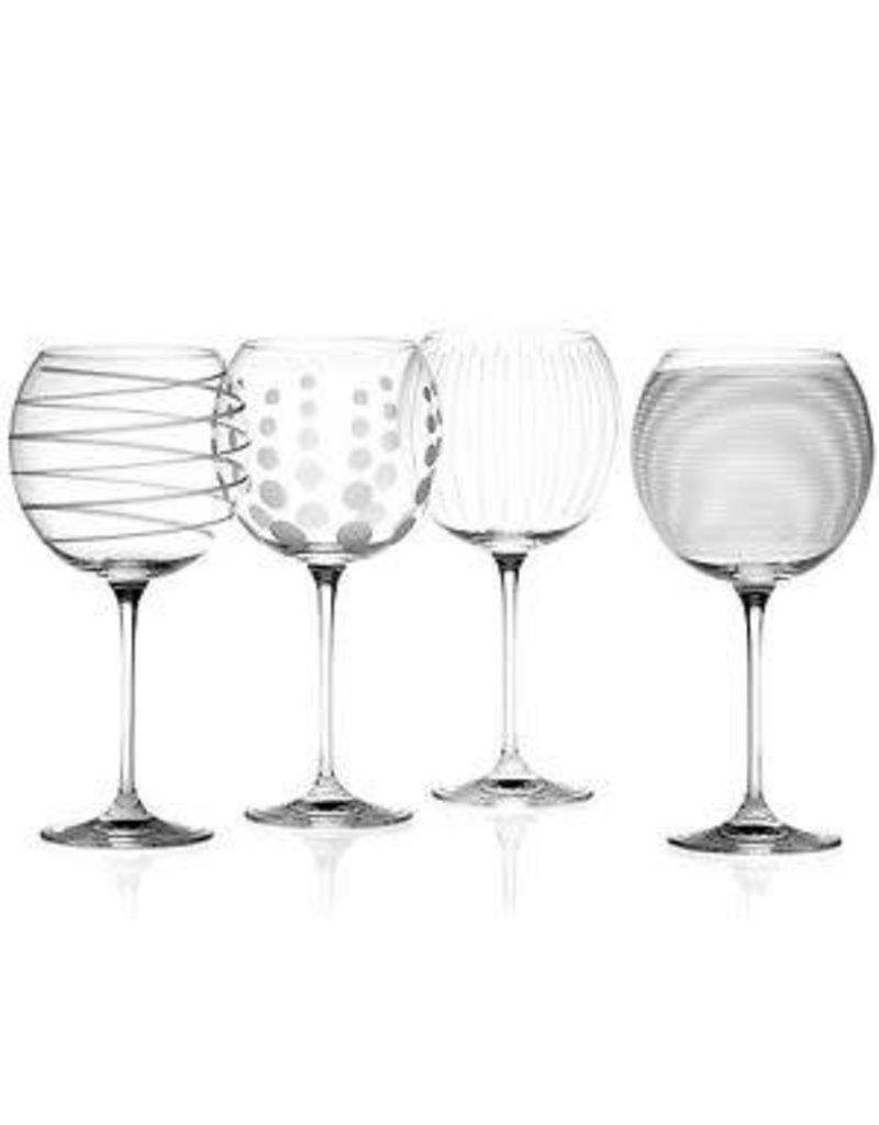 MIKASA SET OF 4 BALLOON GOBLETS CRYSTAL GIN GLASSES