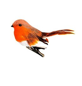 Robin On Clip Decoration 11cm