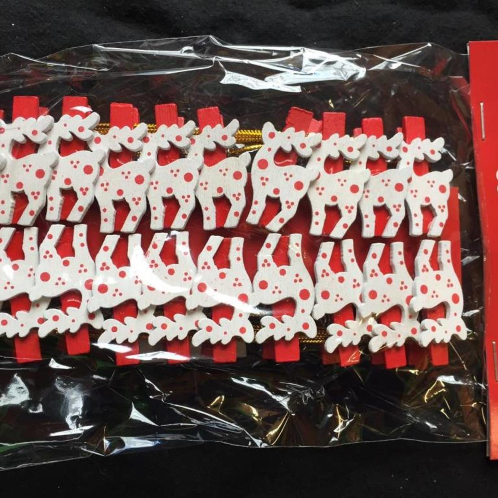 20pc Tree and Reindeer Peg Card Holders - Asst