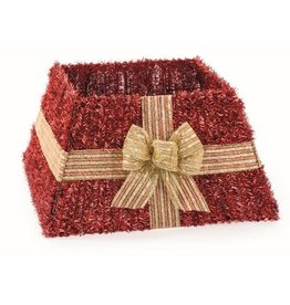 Premier Red Tinsel Skirt With Gold Bow