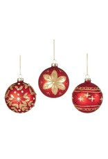 80mm Red Gold Decorated 3 Asst Glass Balls in CDU