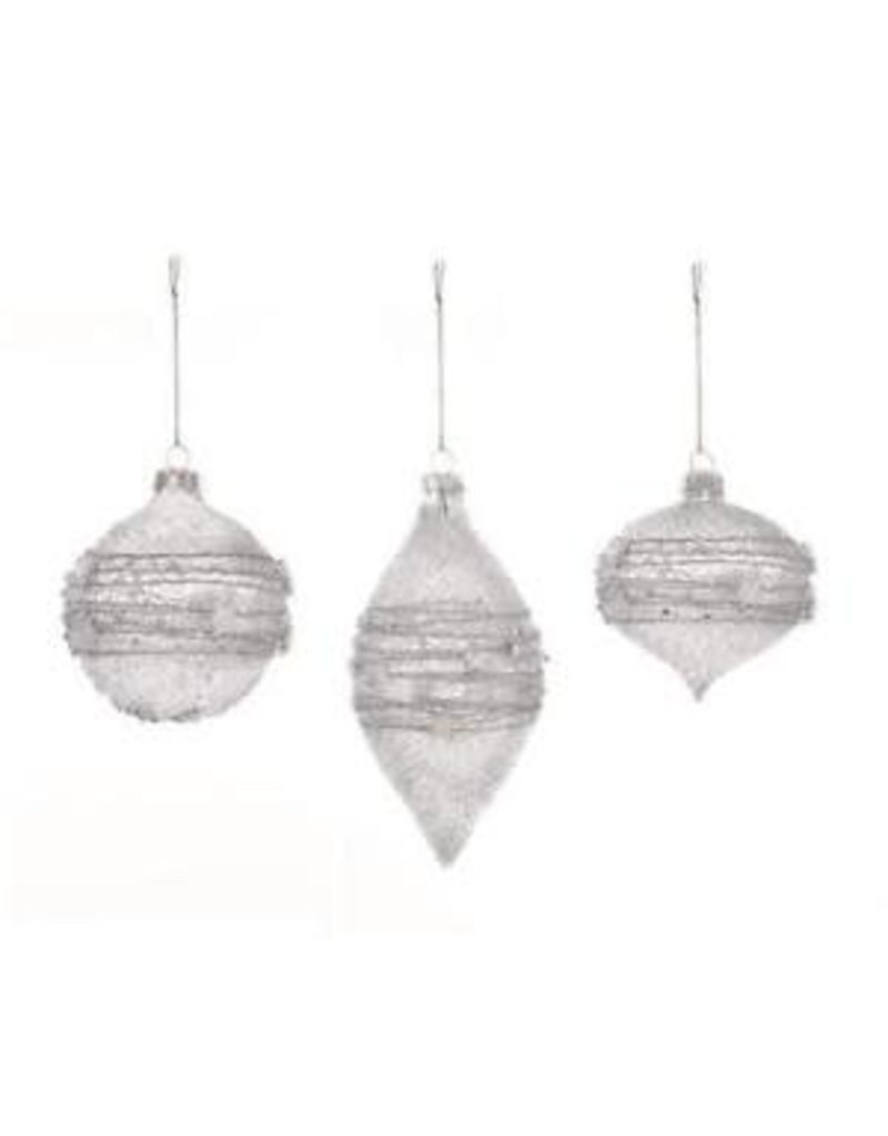 8cm Silver Star-Bead Glass Ball Onion Drop Bauble -3 Asst