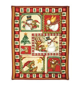PREMIER 1.6M x 1.3M Fleece Throw w Snowman and Bears