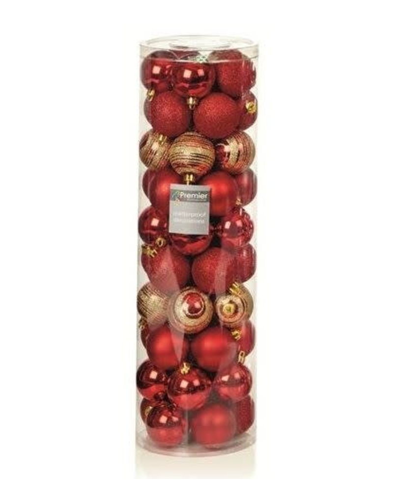 50 x 60mm Multi Finish Balls Red with Gold Glitter
