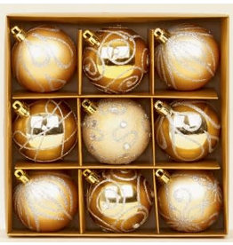9 x 60mm Champagne Gold Decorated Balls