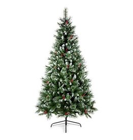 Premier 1.8M Sugar Pine PVC Tree with Iced Tips Berries and Cones