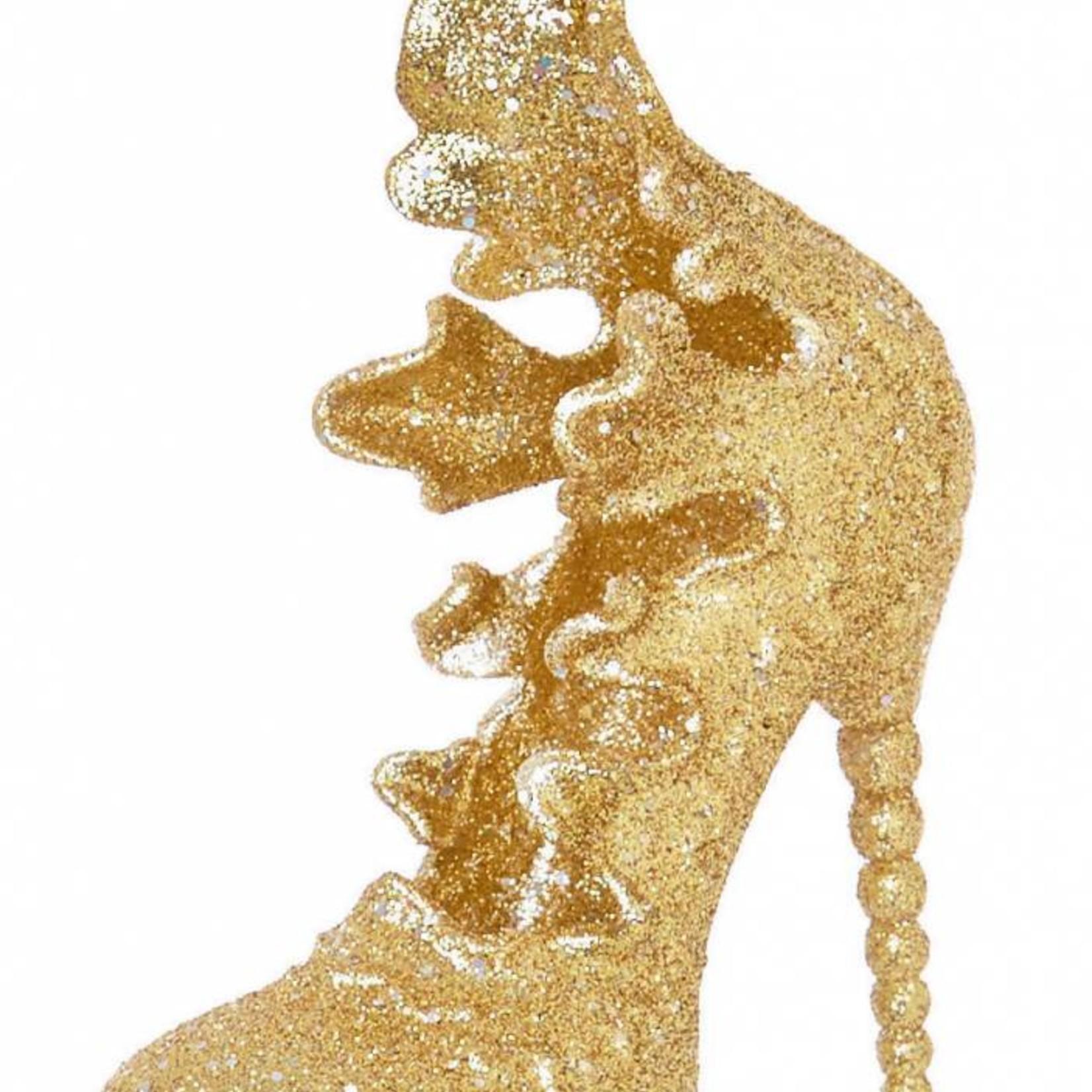 11cm Frilly Gold Glitter Shoe