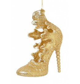 11cm Frilly Gold Glitter Shoe