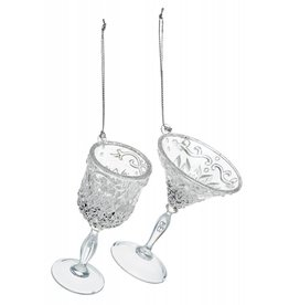 10cm 2 Asst Wine Glass Dec Clear Acrylic w Silver Glitter