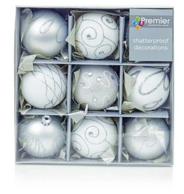 9x 60mm Silver White Decorated Ball