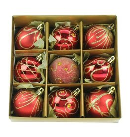 9 x 60mm Red Decorated Balls