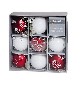 9 x 60mm Red White Decorated Ball