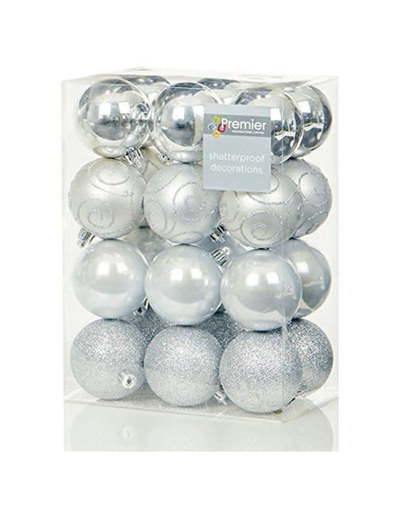 24 x 60mm Silver Multi Finish Balls