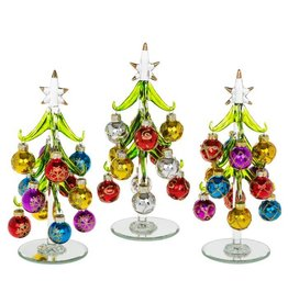 DECORATED GLASS XMAS TREE WITH BAUBLES MEDIUM