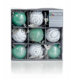 9 x 60mm Light Green and White Decorated Ball
