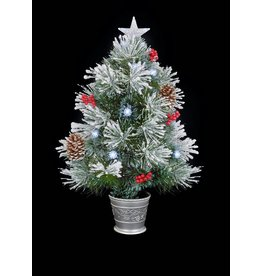 Premier 80cm Snow Tipped Tree With White LED Pinecones Berries