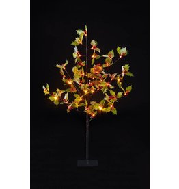 Premier 1.2m Holly Leaf Tree with Red Berries and 48 Warm White Leds
