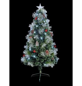 Premier 1.8m Snow Tipped Tree With White LED Pinecones Berries