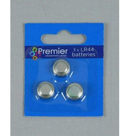 Pack of 3 LR44 Button Cells on Clip Strip
