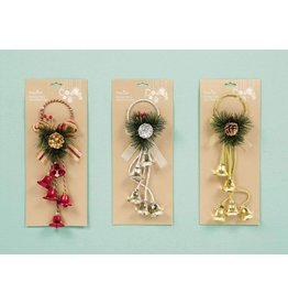 35cm Bell Door Hanger 3 Asst - Red-Gold-Silver