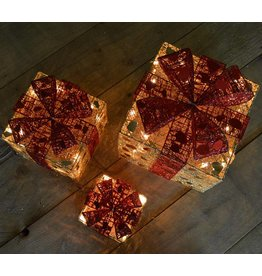 Set of 3 Gold Parcels w-Red Bow w-Fairy Lights -10-15-20cm
