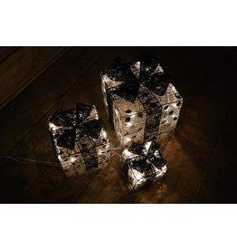 Set of 3 Silver Parcels w-Blck Bow w-Fairy Lights -10-15-20cm
