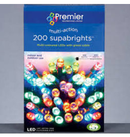 PREMIER 200 LED MULTI ACTION SUPABRIGHTS INDOOR AND OUTDOOR USE MULTI COLOURED WITH GREEN CABLE