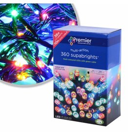 PREMIER 360 LED MULTI ACTION SUPABRIGHTS INDOOR AND OUTDOOR USE MULTI COLOURED WITH GREEN CABLE