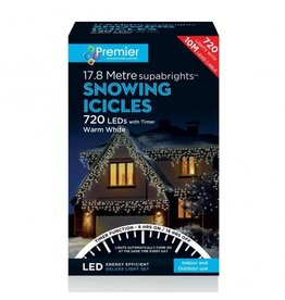 PREMIER 720 LED SNOWING ICICLES WITH TIMER WARM WHITE