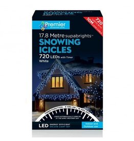 PREMIER 720 LED SNOWING ICICLES WITH TIMER WHITE