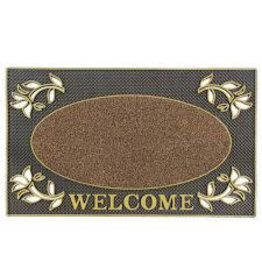 JVL JVL WELCOME RECTANGULAR PVC PIN MAT 45X75CM DOOR MAT - GOLD
