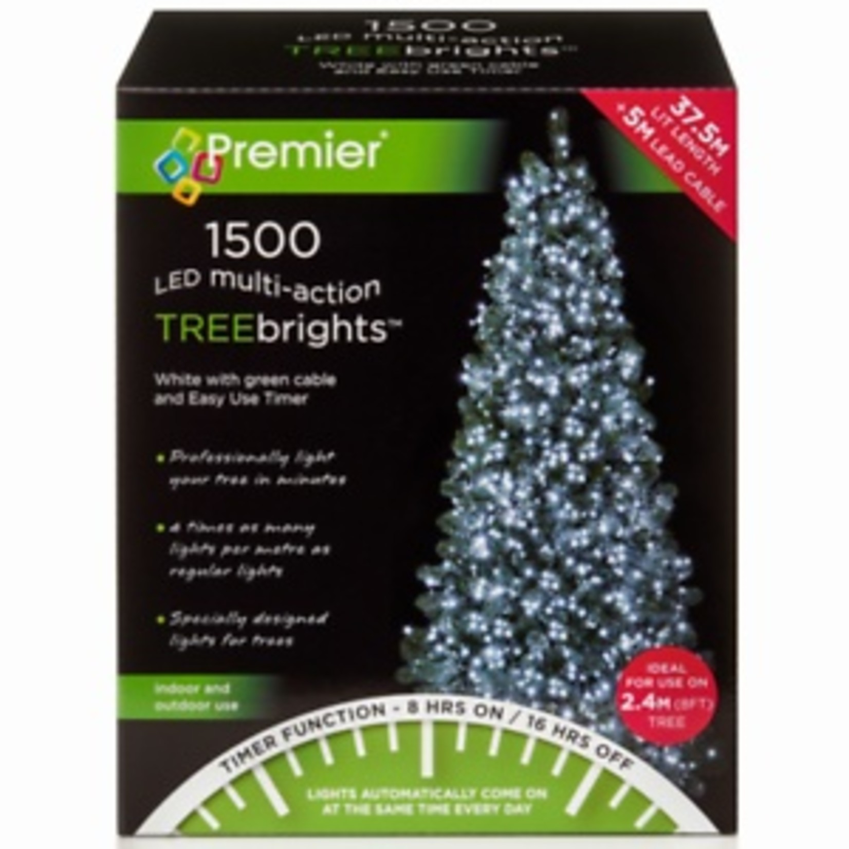 1500 M-A Led TreeBrights Timer White