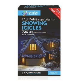 PREMIER 720 LED SUPABRIGHT SNOWING ICICLES BLUE/WHITE INDOOR AND OUTDOOR USE