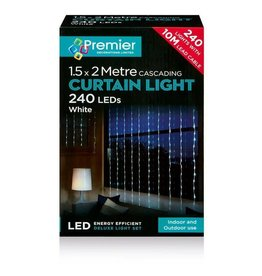 Premier 240 White Led Waterfall Curtain Lights
