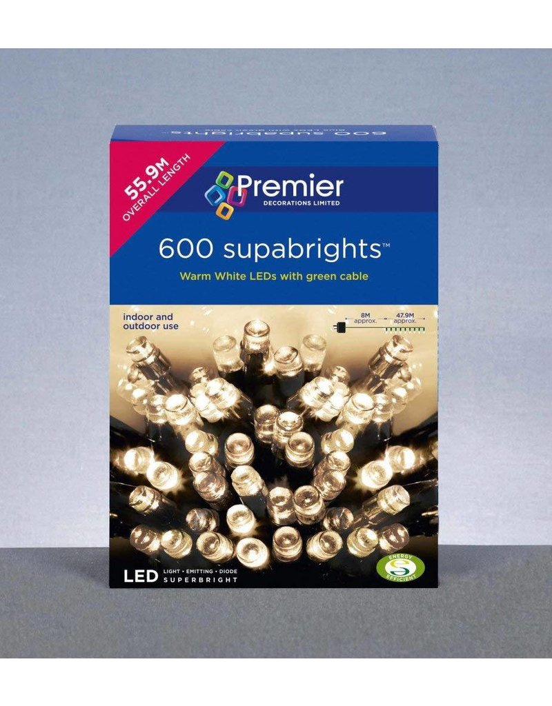 PREMIER 600 LED SUPABRIGHTS INDOOR AND OUTDOOR USE WARM WHITE WITH GREEN CABLE