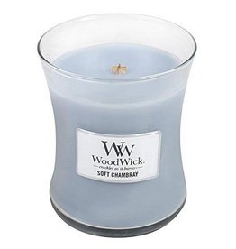 Woodwick WOODWICK SOFT CHAMBRAY MEDIUM CANDLE