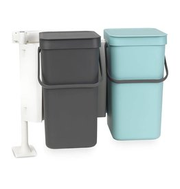 Brabantia BRABANTIA SORT & GO BUILT-IN BIN, PLASTIC, GREY/MINT, 12 L, PACK OF 2