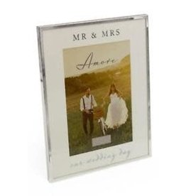 "Amore Silverplated Frame Mirror 5"" x 7"" On Our Wedding Day"