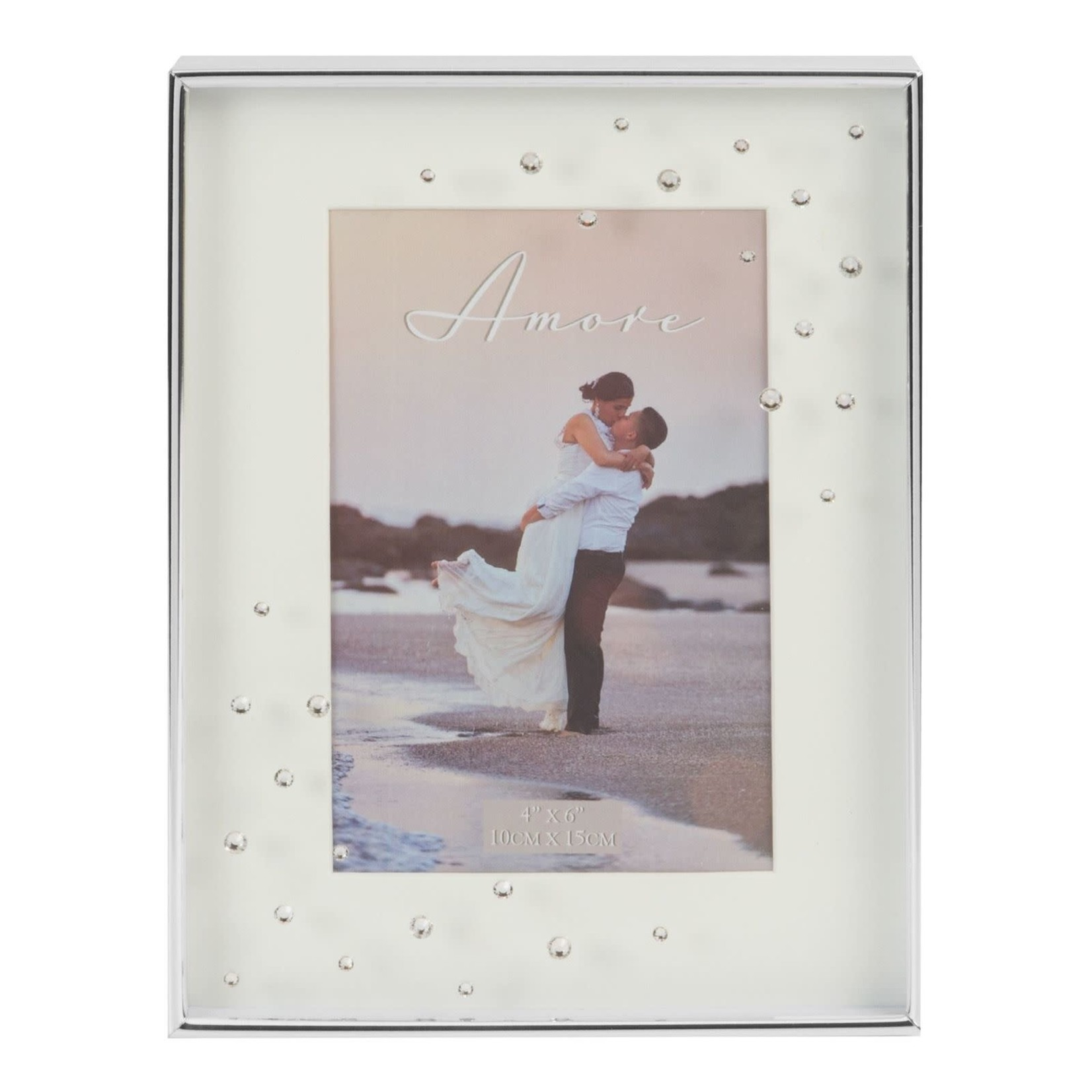 """Amore Silverplated Frame with Crystals 4"""" x 6"""""""